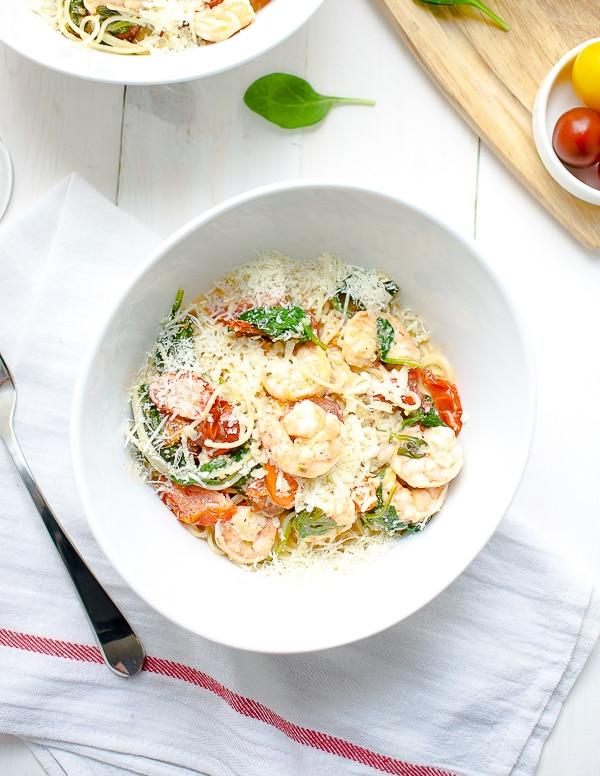 Shrimp Pasta Lite Recipe Tomatoes Spinach