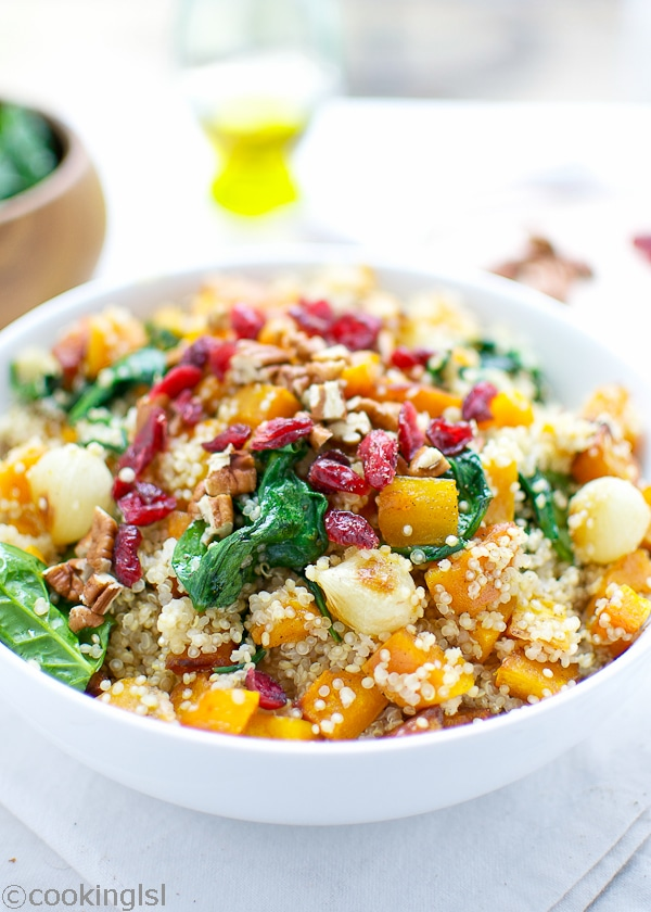 Butternut Squash Quinoa With Spinach And Cranberries