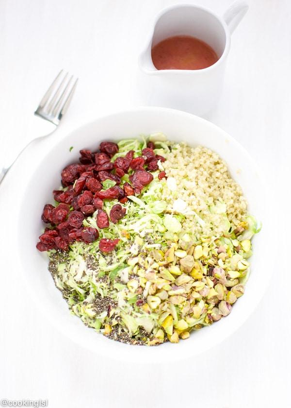 Brussels Sprouts Salad With Cranberry Orange Vinaigrette