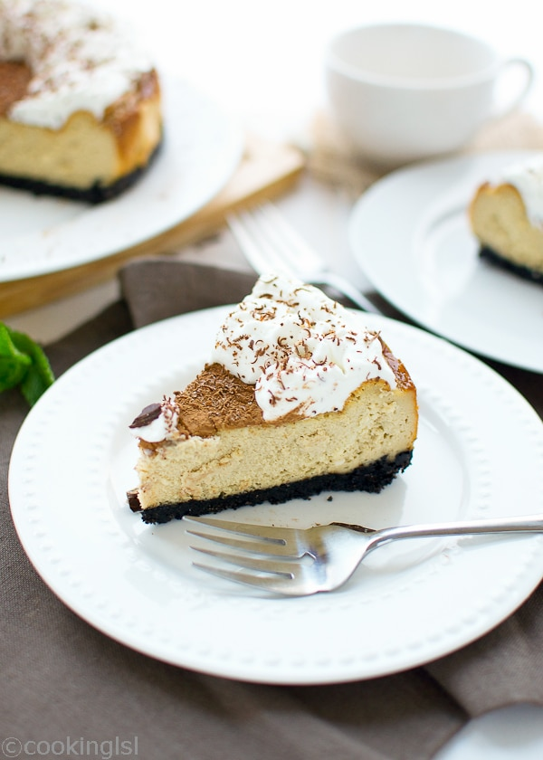Tiramisu Cheesecake With Oreo cookie crust