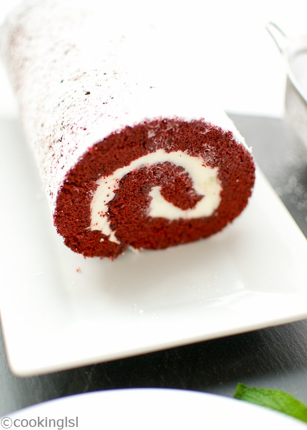 Red Velvet Cake Roll With Cream Cheese Filling and Giveaway
