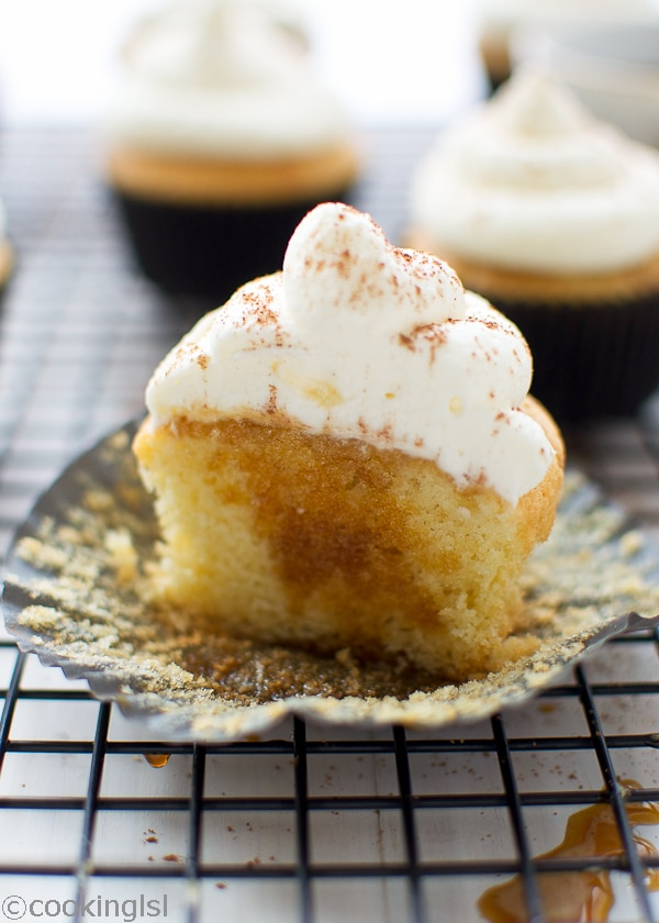 Tiramisu cupcakes espresso syrup mascarpone whipped cream