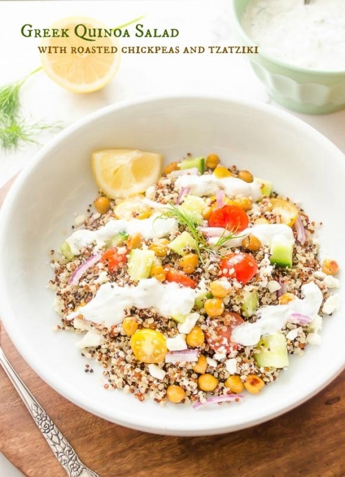 GREEK QUINOA SALAD WITH ROASTED CHICKPEAS AND TZATZIKI