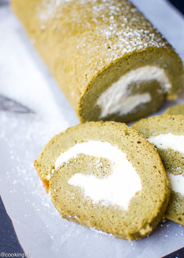 Matcha Swiss Roll With Lemon Mascarpone Whipped Cream Filling