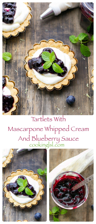 mini tartlets-tarts-whipped-mascarpone-cream-blueberry-sauce-dessert