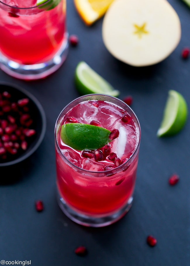 ... refreshing nonalcoholic drink like this Cider-Pomegranate Refresher