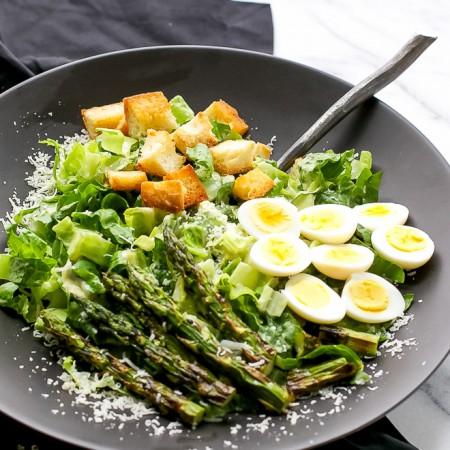 asparagus-quail-eggs-caesar-salad-homemade-dressing