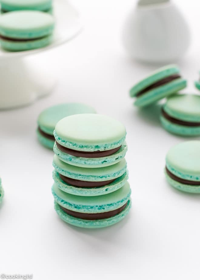 Baby Blue French Macarons With Chocolate Ganache Recipe – delicate ...