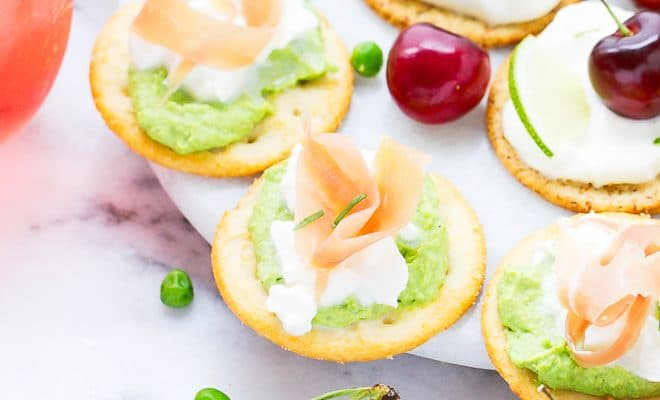 Sweet Pea Hummus Bites And Cherry Lime Cheesecake Bites For A Summer Party