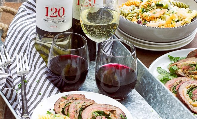 Grilled Stuffed Flank Steak And Tri-Color Pasta Salad Recipe